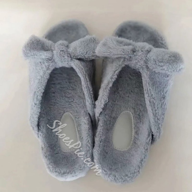 Shoespie Sexy Flat With Bow Slip-On Winter Slippers