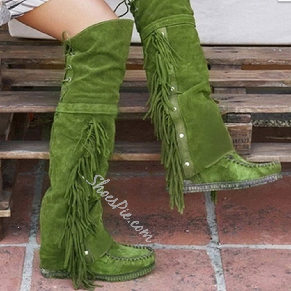 Shoespie Trendy Plain Flat With Round Toe Fringe Boots
