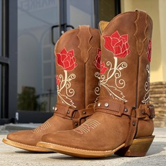 Shoespie Stylish Floral Square Toe Slip-On Embroidery Boots