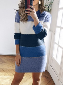 Color Block Round Neck Above Knee Long Sleeve Fall Women's Dress