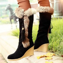 Shoespie Trendy Wedge Heel Round Toe Plain OL Boots