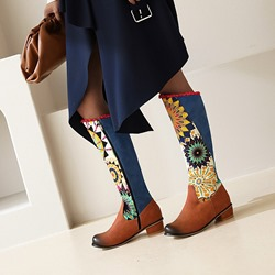 Shoespie Stylish Color Block Block Heel Round Toe Western Boots