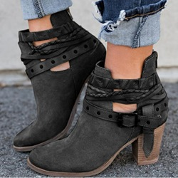 Shoespie Sexy Round Toe Back Zip Chunky Heel Professional Boots