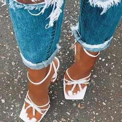 Shoespie Stylish Line-Style Buckle Spool Heel Ankle Strap Sweet Sandals