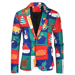 Print Notched Lapel One Button Leisure Blazer