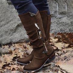 Shoespie Trendy Side Zipper Round Toe Patchwork Thread Boots