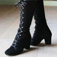 Shoespie Trendy Chunky Heel Plain Lace-Up Front Western Boots