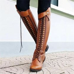 Shoespie Sexy Block Heel Lace-Up Front Plain Casual Boots