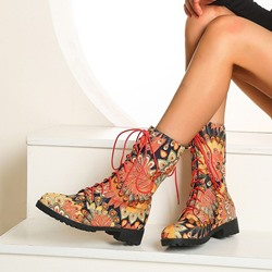Shoespie Trendy Lace-Up Front Round Toe Block Heel Ethnic Boots