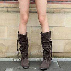 Shoespie Trendy Round Toe Plain Slip-On Ethnic Boots