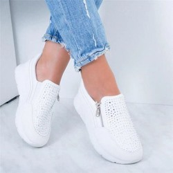 Shoespie Trendy Round Toe Rhinestone Zipper Western Sneakers