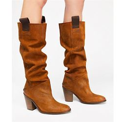 Shoespie Stylish Patchwork Slip-On Round Toe Western Boots