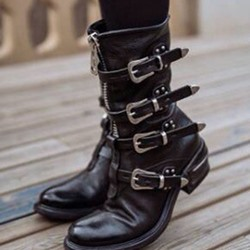 Shoespie Trendy Round Toe Front Zipper Plain Casual Boots