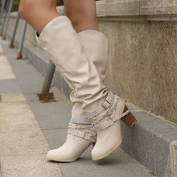 Shoespie Trendy Round Toe Slip-On Chunky Heel Buckle Boots