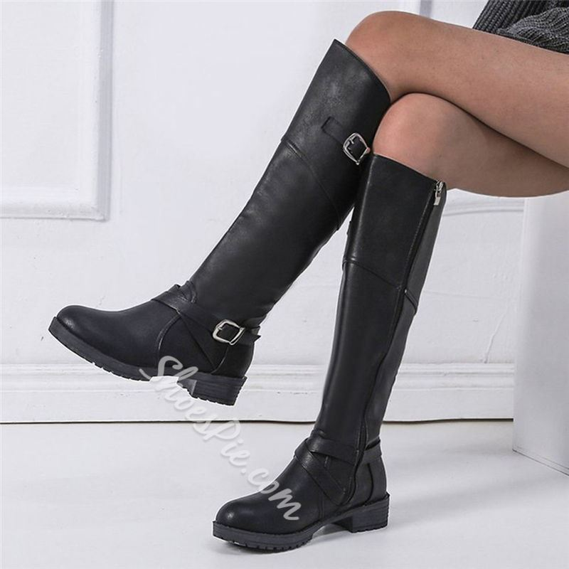 Shoespie Stylish Round Toe Plain Side Zipper Western Knee High Boots