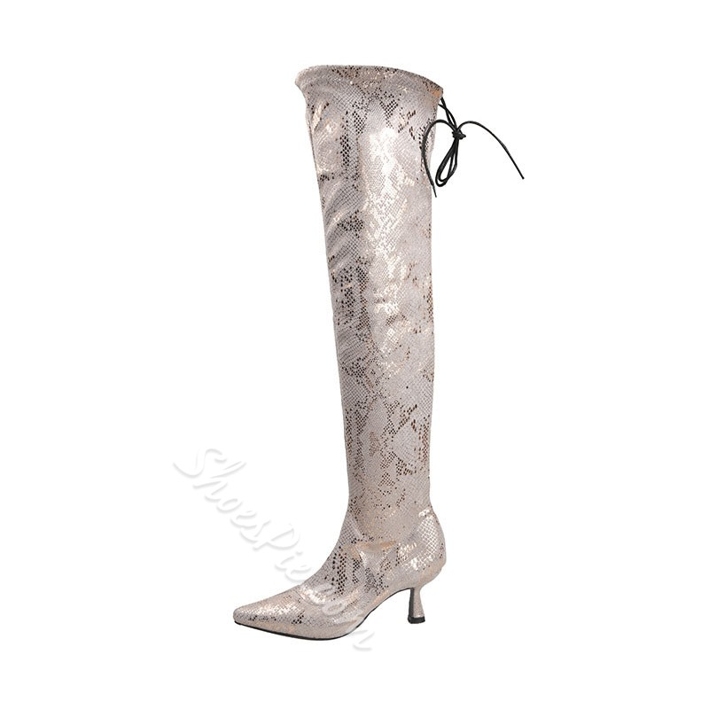 Shoespie Sexy Pointed Toe Lace-Up Back Western Boots