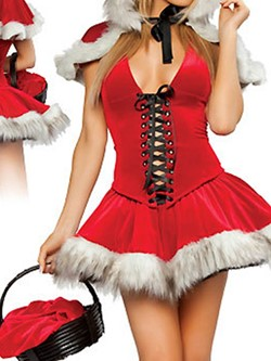 Lace-Up Sleeveless Color Block Classic Halloween Women's Costumes