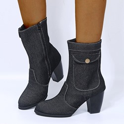Shoespie Trendy Chunky Heel Side Zipper Round Toe Western Boots