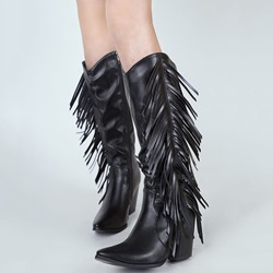 Shoespie Sexy Side Zipper Chunky Heel Plain Tassel Thread Boots