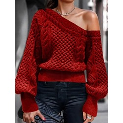 Asymmetric Lantern Sleeve Thin Standard Women's Sweater