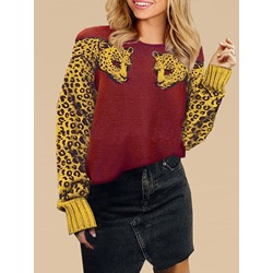 Regular Thin Patchwork Fall Women's Sweater