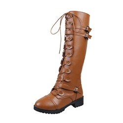 Shoespie Trendy Block Heel Plain Side Zipper Western Boots
