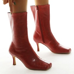 Shoespie Sexy Plain Square Toe Side Zipper PU Boots