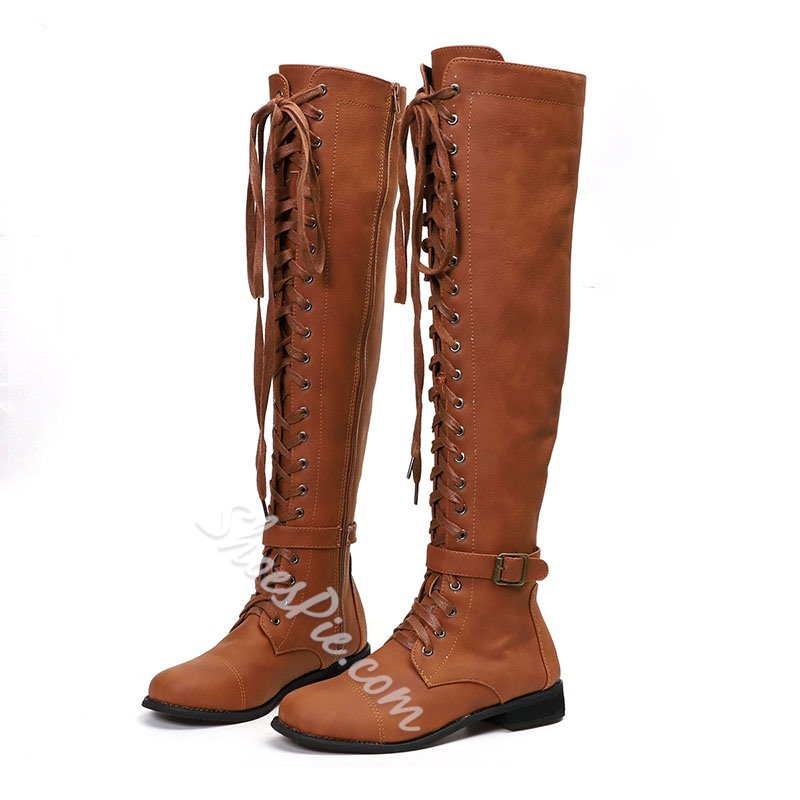 Shoespie Sexy Side Zipper Round Toe Plain Thread Boots