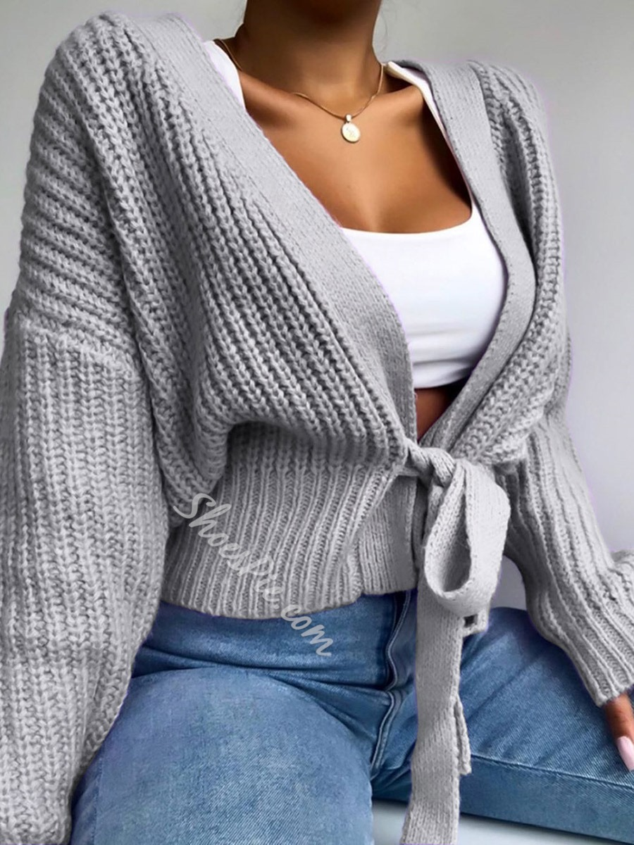 Lace-Up Lace-Up Thick Standard Women's Sweater
