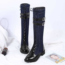 Shoespie Trendy Side Zipper Patchwork Round Toe Cross Strap Boots