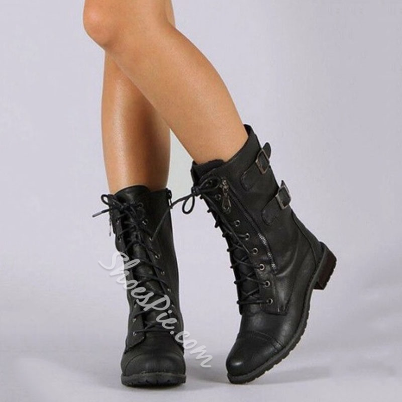 Shoespie Stylish Block Heel Round Toe Plain Western Boots