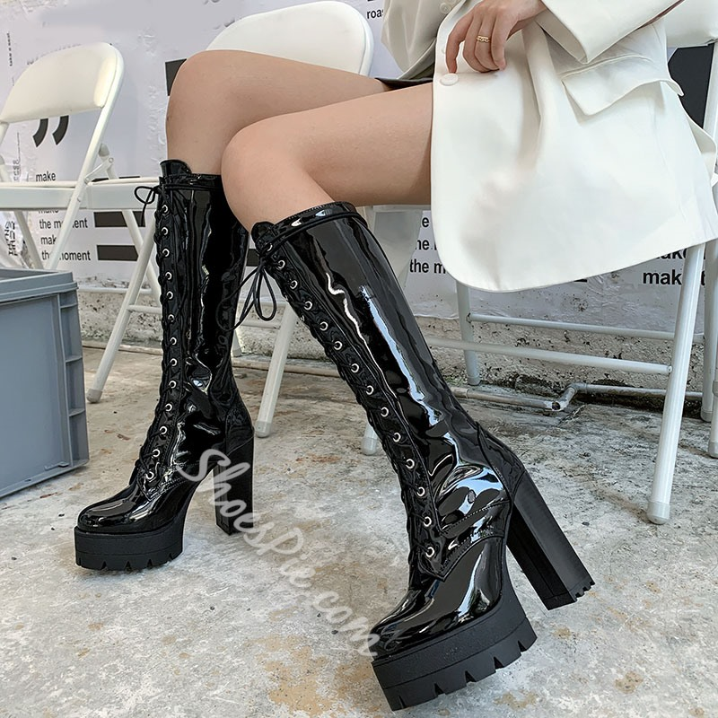 Shoespie Trendy Chunky Heel Round Toe Plain Western Boots