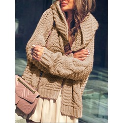 Patchwork Thick Long Sleeve Women's Sweater