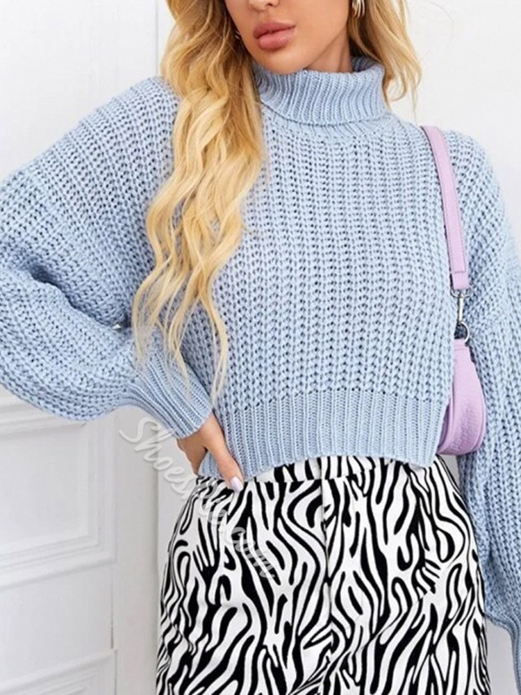 Light Blue Thin Turtleneck Women's Sweater