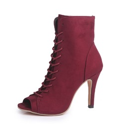 Shoespie Stylish Peep Toe Lace-Up Front Plain PU Boots