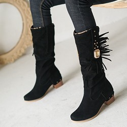 Shoespie Stylish Slip-On Chunky Heel Round Toe Rivet Boots