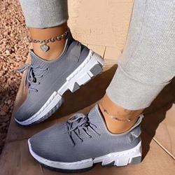Shoespie Stylish Round Toe Low-Cut Upper Lace-Up Plain Sneakers