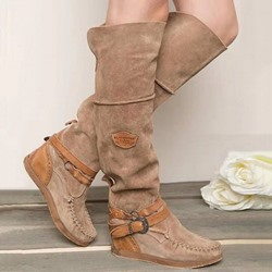 Shoespie Sexy Patchwork Round Toe Slip-On Buckle Boots