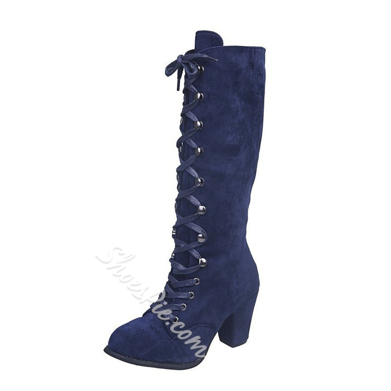 Shoespie Sexy Lace-Up Front Chunky Heel Round Toe Sexy Boots