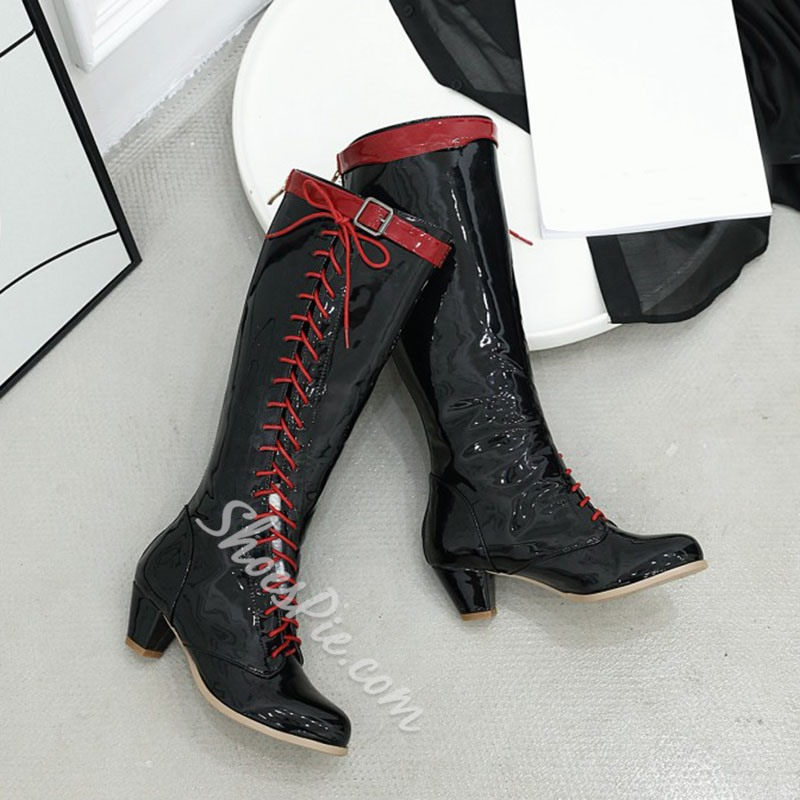 Shoespie Trendy Color Block Chunky Heel Round Toe Western Boots