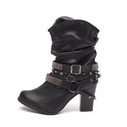 Shoespie Trendy Round Toe Slip-On Chunky Heel Western Boots
