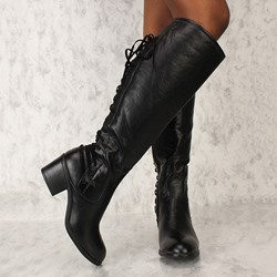 Shoespie Sexy Lace-Up Back Plain Round Toe Thread Boots