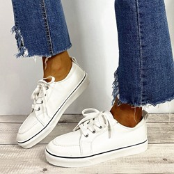 Shoespie Sexy Round Toe Thread Lace-Up Flat With Sneakers