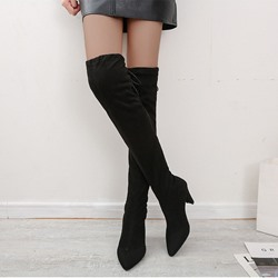 Shoespie Trendy Slip-On Plain Pointed Toe Lace-Up Boots