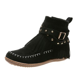 Shoespie Stylish Plain Flat With Side Zipper Rivet Boots