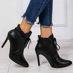 Shoespie Trendy Pointed Toe Stiletto Heel Lace-Up Front Western Boots