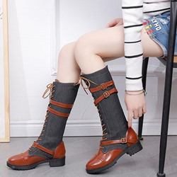 Shoespie Trendy Round Toe Lace-Up Front Block Heel Western Boots