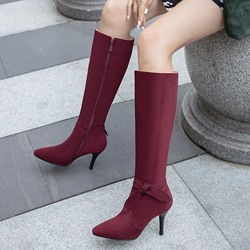 Shoespie Sexy Plain Side Zipper Stiletto Heel Bow Boots