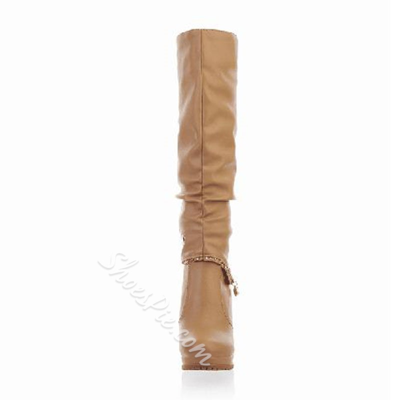Shoespie Sexy Round Toe Plain Side Zipper Western Boots