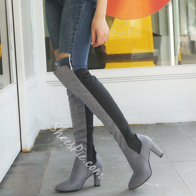 Shoespie Stylish Color Block Slip-On Pointed Toe Thread Boots